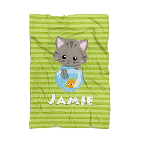 2ec44ed54cb8 Image Unavailable. Image not available for. Color: Cat Throw Blanket -  Green Kitty Cat Personalized ...