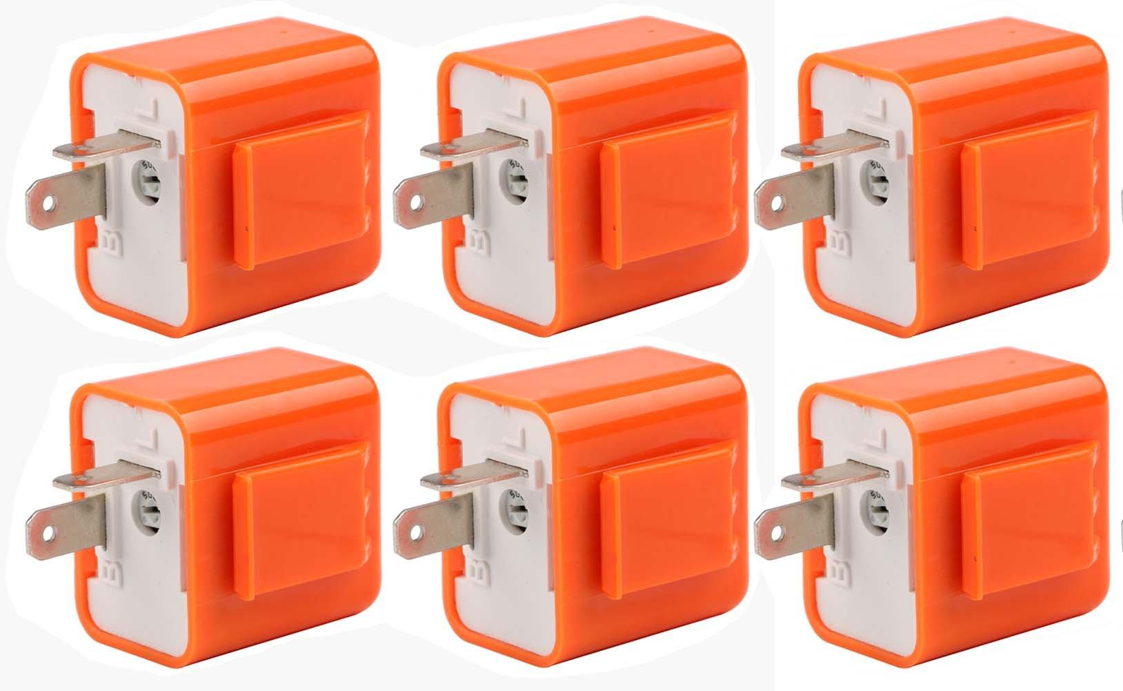 Sdootauto 6 Pcs 12V 2-Pin Motorcycle Adjustable Flasher Turn Signal LED Flasher Relay Hyper Indicator Flash (orange pack of 6)