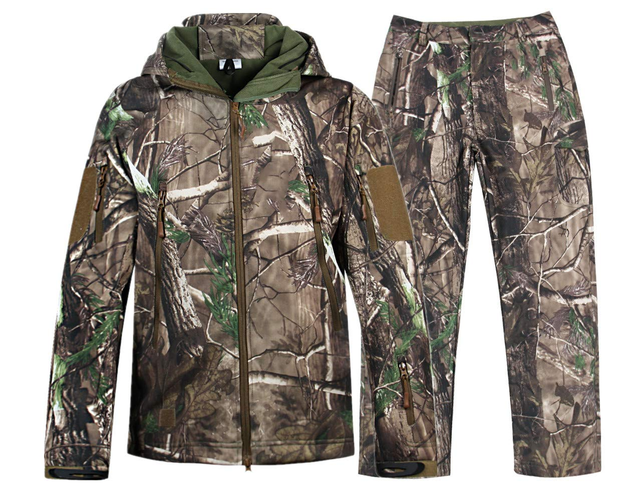 NEW VIEW Hunting Jacket Waterproof Hunting Camouflage Hoodie for Men,Hunting Suit (Jacket and Pants-1, US XXL=Tag XXXL) by NEW VIEW