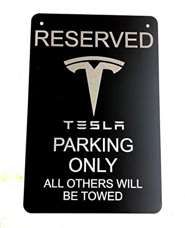 Amazon Com Diamond Etched Tesla Logo Parking Sign On 12 X 18 Aluminum Matte Black Automotive