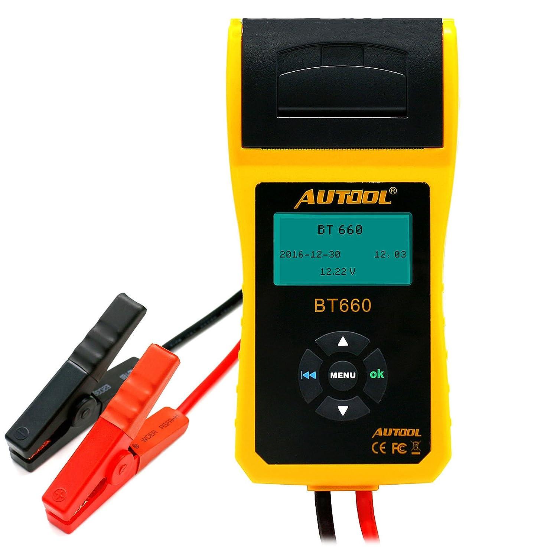 AUTOOL 12V / 24V Analyseur de compresseur de charge de batterie automobile avec imprimante pour condensé régulier CCA 100-3000 Amplificateurs de démarrage à froid Auto Battery Direct Health Checker