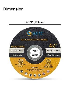 Cutting Wheel 50 PCS Cut Off Wheel 4.5x.040x7/8 Cutting Disc Ultra Thin Metal & Stainless Steel SATC