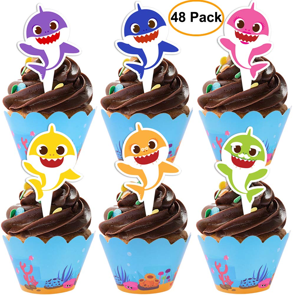 48 pieces Shark Cupcake Toppers Wrappers Shark Theme Party Supplies- Shark Family Baby Shower Birthday Party Decorations by DoYay