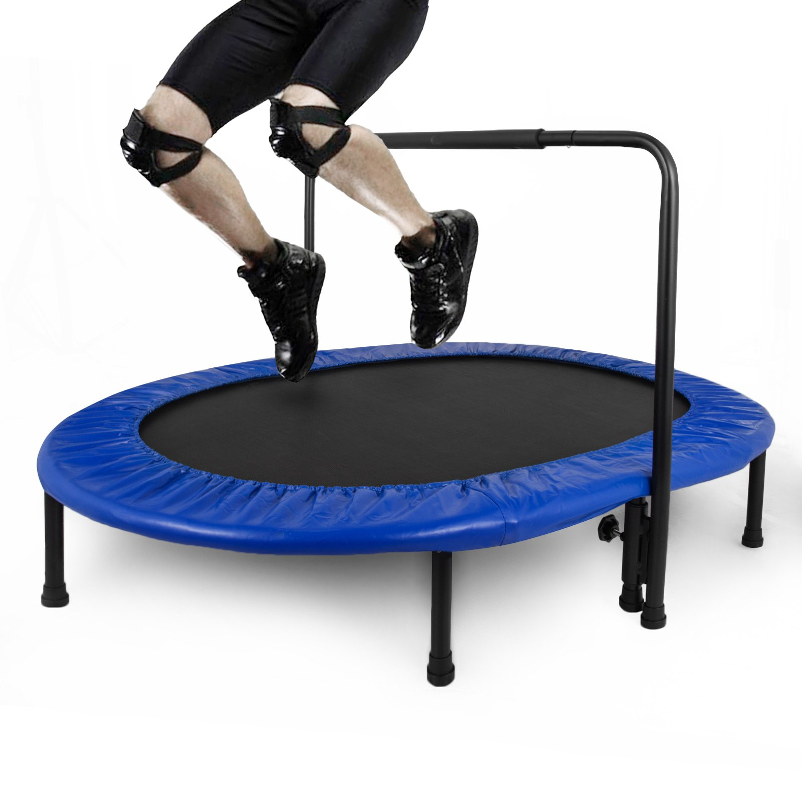 Popsport Mini Trampoline 220/330 lbs Fitness Trampoline In-Home Rebounder with Bungee Cover and Rubber Bungees for Home Cardio Exercise (56''x35''x9'')