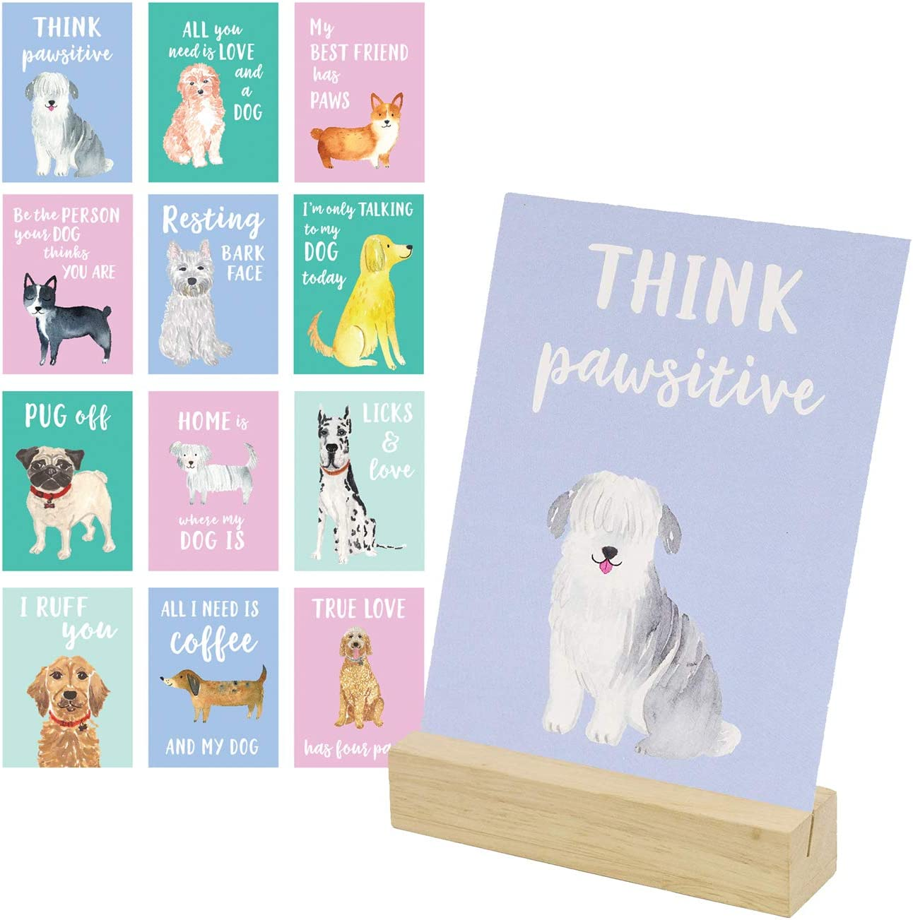 Eccolo World Traveler Think Pawsitive Desk Stand, Wooden Block Stand, 12 Dog Themed Cards