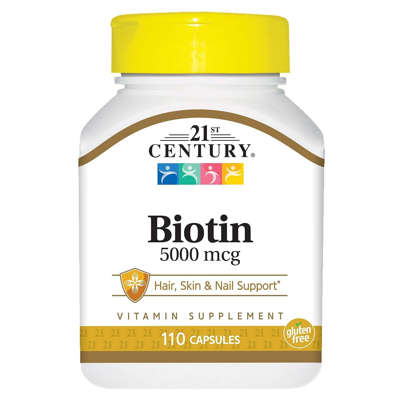 Amazon.com: 21st Century Biotin 5000 mcg Capsules, 110 Count: Health &  Personal Care