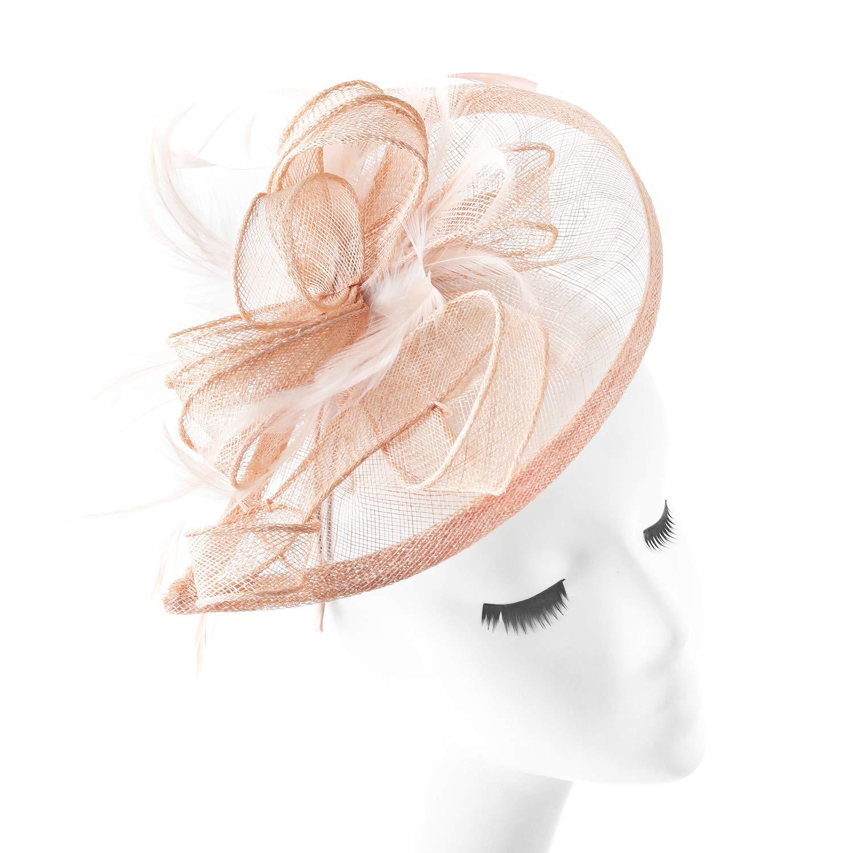 FENTORY Fascinators Women Sinamay Wedding Hats Tea Party Headband (Pink Champagne)