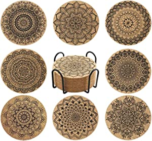 """Coasters for Drinks, 8 Pack Wooden Table Absorbent Coasters with Holder Mandala Coaster Set Nature Cork Coasters Round Cup Mat, Gift for Friends, Great Home and Dining Room Decor (4"""", Cork)"""