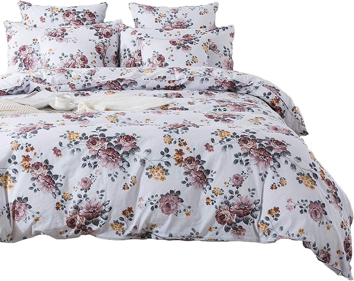 FADFAY Duvet Cover Set Queen Elegant White Floral Farmhouse Bedding 100% Brushed Cotton Super Soft Hypoallergenic Comforter Cover Set with Zipper Closure 3Pcs, 1duvet Cover & 2pillowcases, Queen Size
