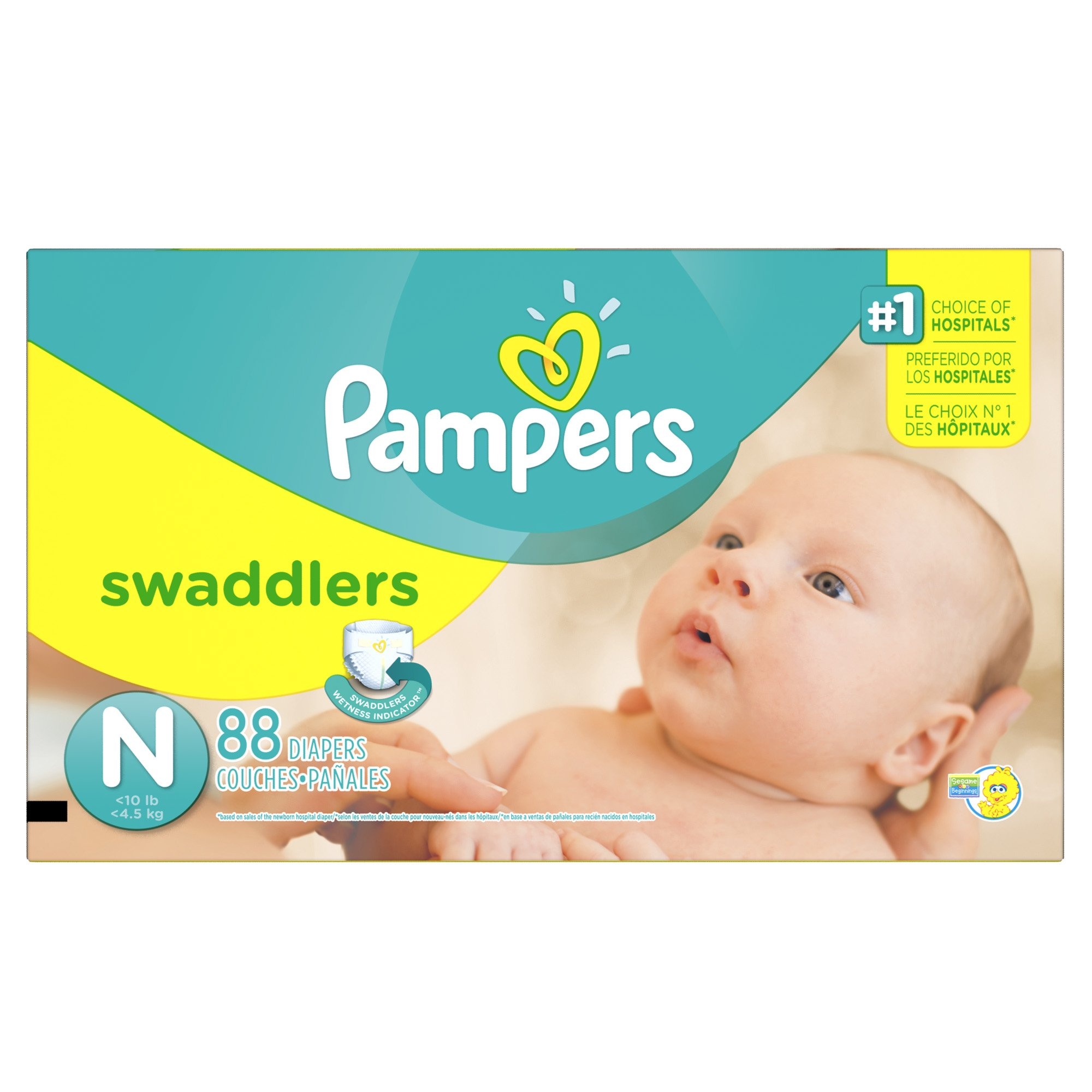 Pampers Swaddlers Disposable Diapers Newborn Size 0 (> 10 lb), 88 Count, SUPER