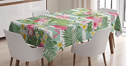 Flamingo Decor Tablecloth By Ambesonne, Flamingos With Exotic Hawaiian  Leaves And Flowers On Striped Vintage