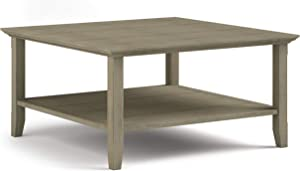 SIMPLIHOME Acadian SOLID WOOD 36 inch Wide Square Rustic Coffee Table in Distressed Grey