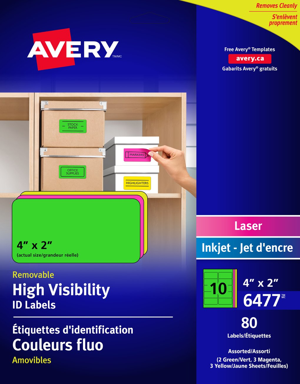 Avery Removable ID Labels for Laser and Inkjet Printers, 2 x 4, Assorted Neon, Rectangle, 80 Labels, Removable (6477) 2 x 4 06477