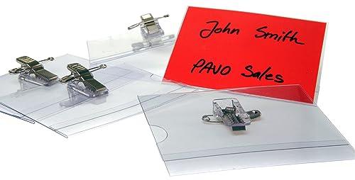 """PAVO Premium 54 x 90 mm """"Combi Clip"""" Visitor Name Badge (Pack of 50)"""
