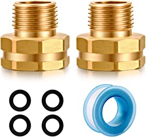 YELUN Solid brass Garden Hose Fittings Connectors Adapter Heavy Duty Brass Repair Female to male faucet leader coupler dual water hose connector(3/4