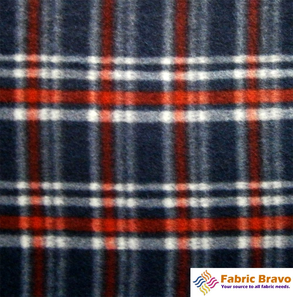 Navy Blue & Red Rect Ii Anti Pill Plaid Fleece Fabric, 60 Inches Wide and Sold By the Yard by Fabric Bravo   B00EW6CKTC
