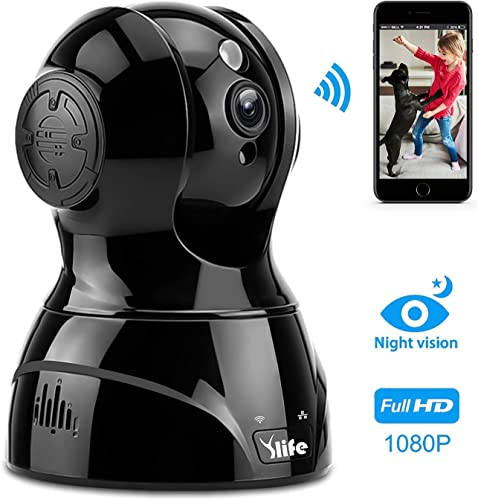 Ylife WiFi Wireless Security Camera, Two Way Audio, Night Vision, Motion Detection, Indoor Home Dome Surveillance Black
