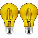 Sunlite 81084 A19 Standard 4.5 (60 Watt Equivalent) Colored Transparent Dimmable Light Bulb, 2 Pack, Yellow