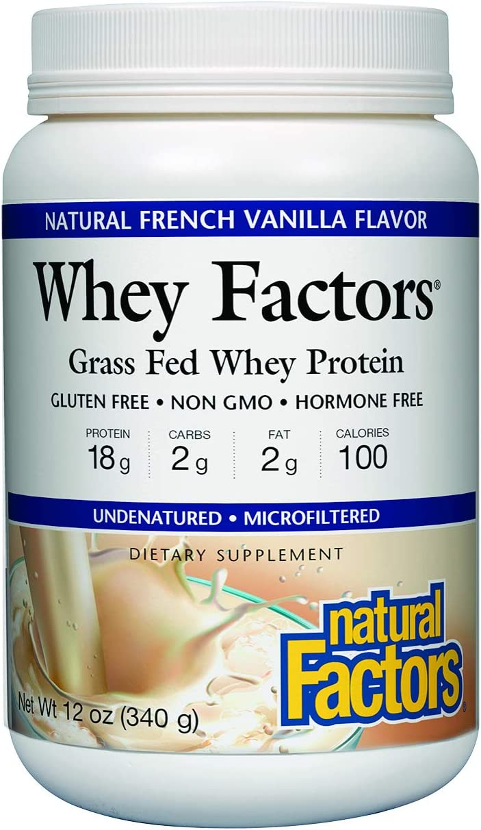 Whey Factors by Natural Factors, Grass Fed Whey Protein Concentrate, Supports Muscle Development and Immune Health, French Vanilla, 2 lbs 41 servings