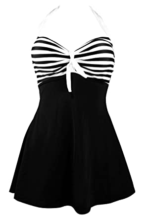06ff2ff72e5 COCOSHIP Black   White Striped Vintage Sailor Pin Up Swimsuit One Piece  Skirtini Cover Up Beachwear