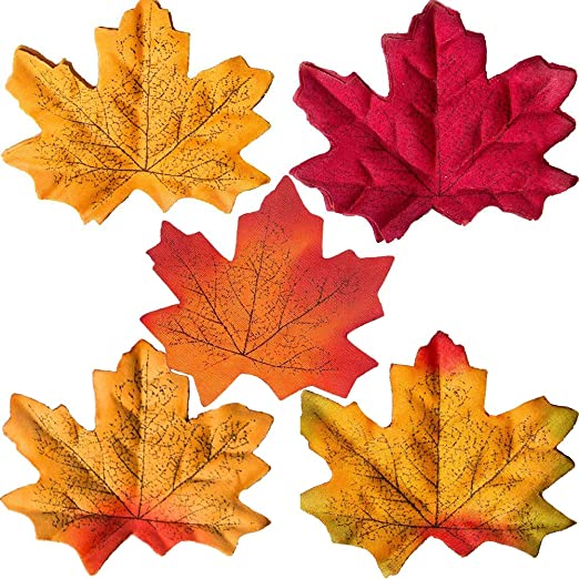 Mixed Colored Autumn Leaves for Weddings CShopping 250 Artificial Fall Maple Leaves DIY Crafts Thanksgiving and Outdoor Decoration Events