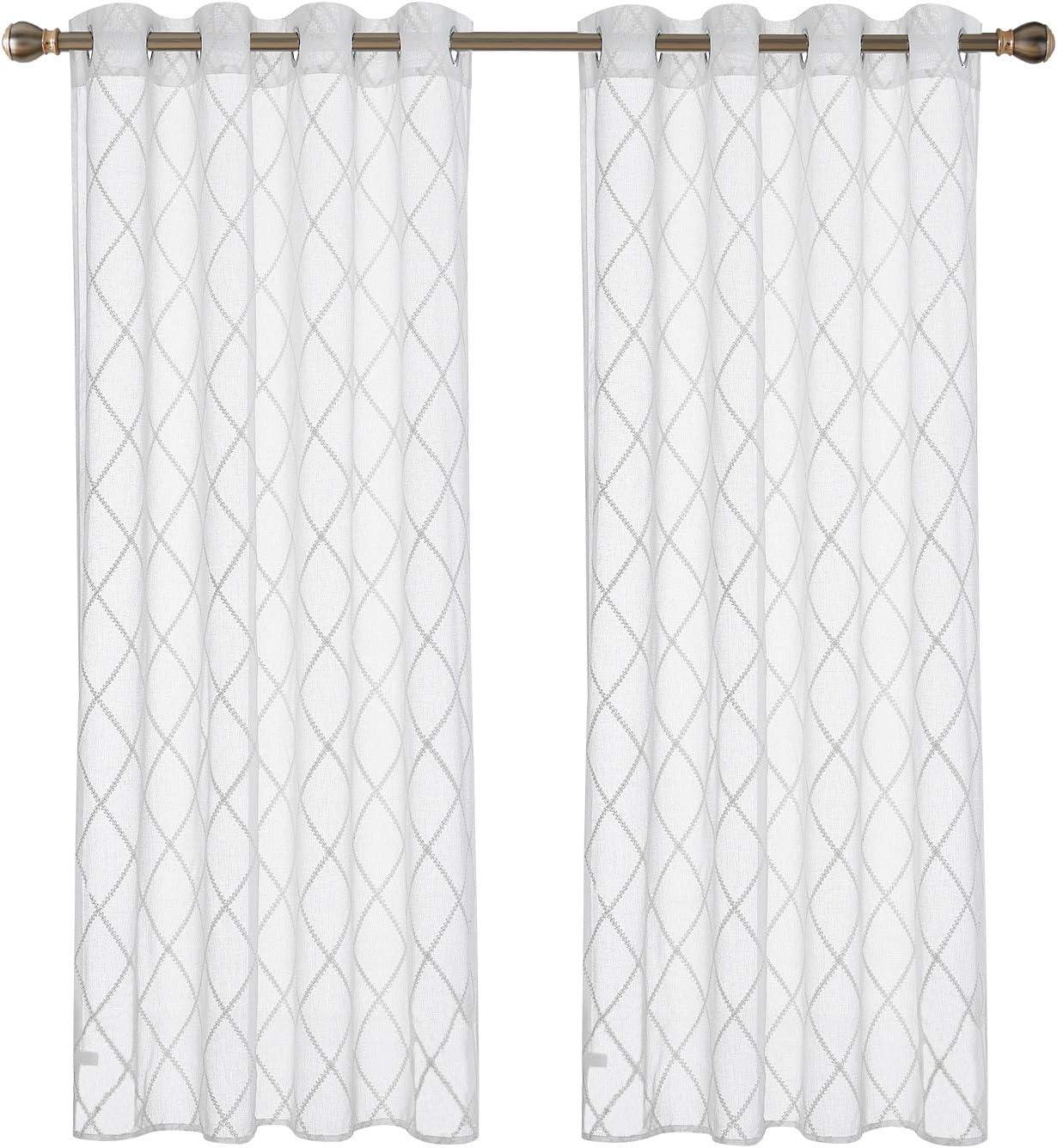 Deconovo Lot de 2 Voilage Enfant Decoration en Effet Lin pour Chambre Broderie Motif G/éom/étrique /à Oeillets Rideau Voile Blanc Fenetre Transparent 140x245cm
