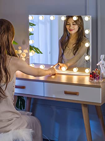 LUXFURNI Vanity Mirror with Makeup Lights, Large Hollywood Light up Mirrors w/ 18 LED Bulbs for Bedroom Tabletop & Wall Mounted, White