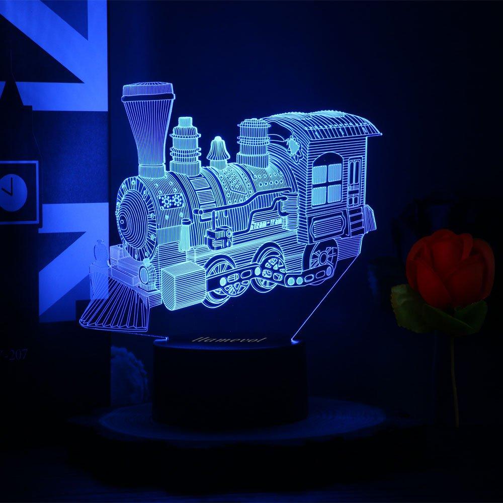 ギフトアイデアナイトライト3dイリュージョンランプ動物ライトLEDデスクランプユニークなギフト赤ちゃんホーム装飾オフィス寝室ウェディングパーティーデコレーション子供部屋照明7色 LLAM03 B07BDFCLC8 14711 Steambtrain Steambtrain
