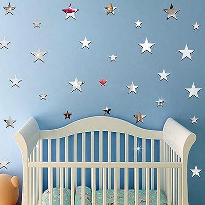 ufengke 20-Pcs 3D Star DIY Mirror Effect Wall Decals,Children's Room Nursery Fashion Design Art Decals Home Decoration: Kitchen & Dining