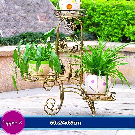 Helen escalera de flores de hierro Jardinera para maceta de flores sala de comedor al abierto balcón Maceta 3 capas (60 * 24 * 69 cm): Amazon.es: Hogar
