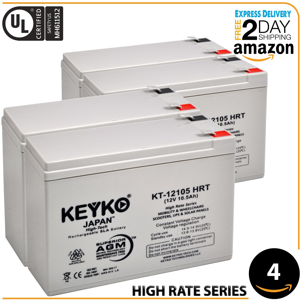 KEYKO Genuine 12V 10.5Ah - 4 Pack Battery - Replace 10Ah - Fresh & REAL 10.5 Amp DEEP CYCLE AGM/SLA Designed for Electric Scooters & Mobility - F2 Terminal by KEYKO