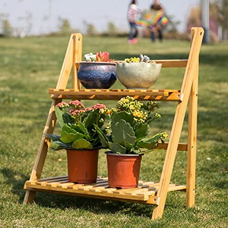 estantes para plantas Flower Stand / 3 Tier plegable de madera Stand Flower Plant Pot Display Shelf escalera jardín al aire libre: Amazon.es: Hogar