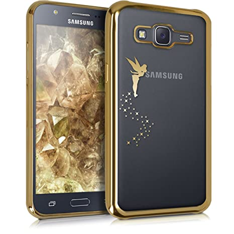 kwmobile Funda para Samsung Galaxy J5 (2015) - Carcasa [Trasera] de [TPU] con diseño de Hada en [Dorado/Transparente]