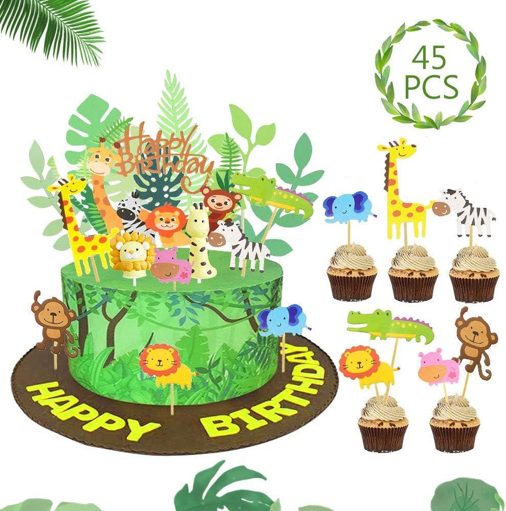 Incredible Jungle Animal Cake Topper Diy Dessert Cake Decoration Happy Funny Birthday Cards Online Inifodamsfinfo