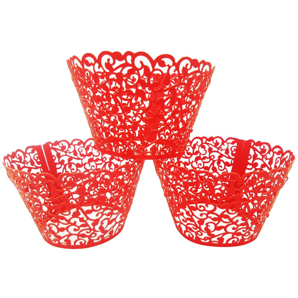 LEFV™ 24pcs Cupcake Wrapper Filigree Little Vine Lace Laser Cut Liner Baking Cup Muffin Case Trays Wraps Wedding Birthday Party Decoration Black