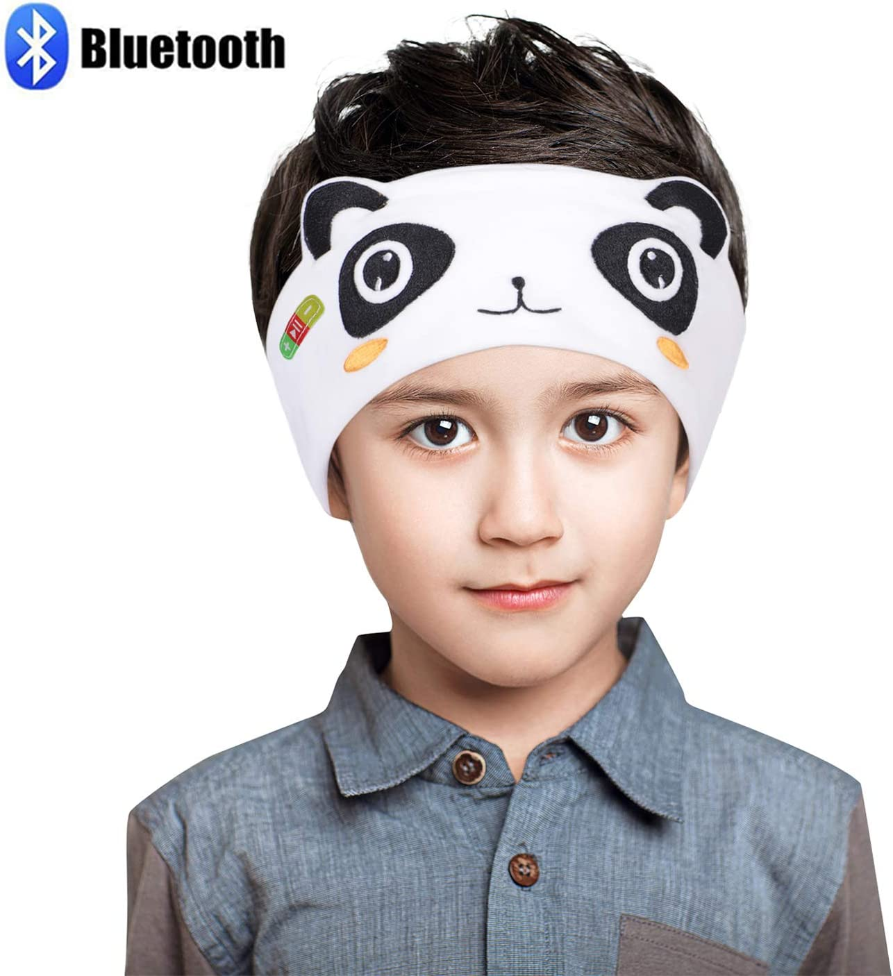 Homelove Kids Wireless Bluetooth Headphones, Hi-Fi Stereo Wireless Headset,with Built-in Mic, Soft Fleece Headband or Patch for School or Home Panda