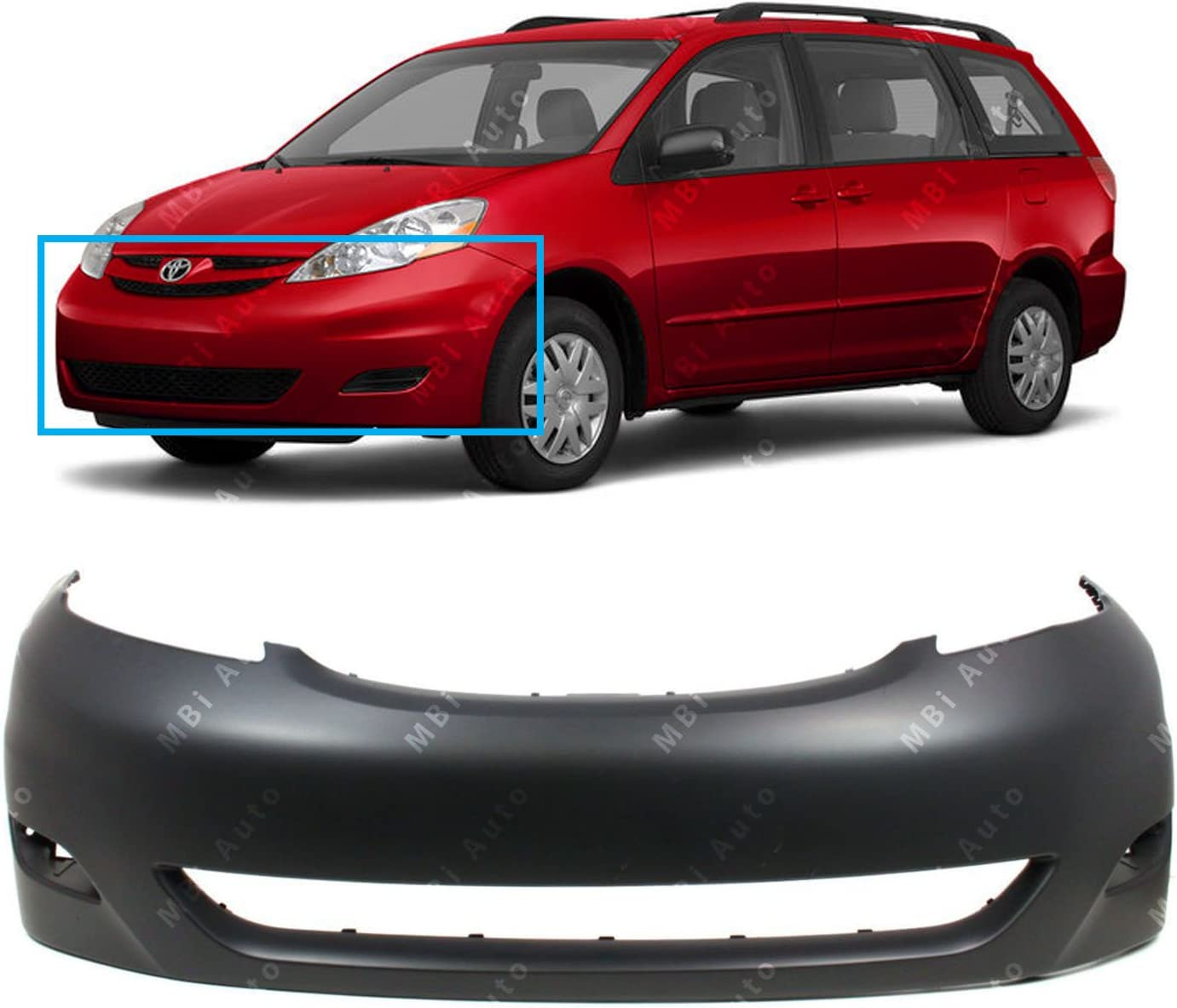 OE Replacement 2006-2010 Toyota Sienna Bumper Cover Partslink Number TO1000323
