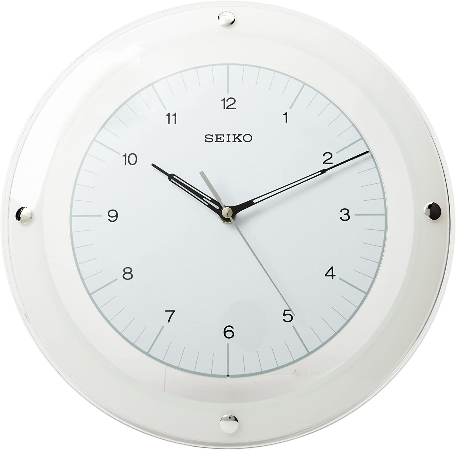 Wall Clock Modern White Glass Silent Sweep Hand Easy Read *SPECIAL OFFER PRICE*