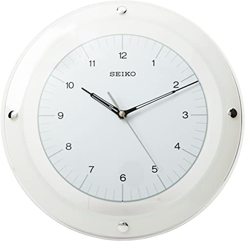 Seiko 13 Quiet Sweep White Glass Wall Clock