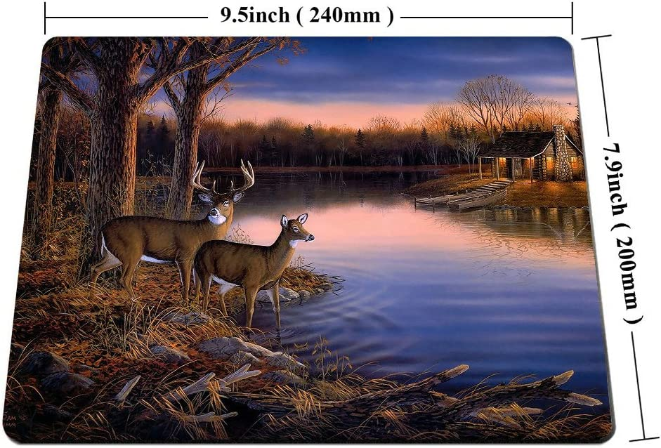 Smooffly Deer Gaming Mouse pad,Deers at The Ege of The River Non-Slip Thick Rubber Large Mousepad