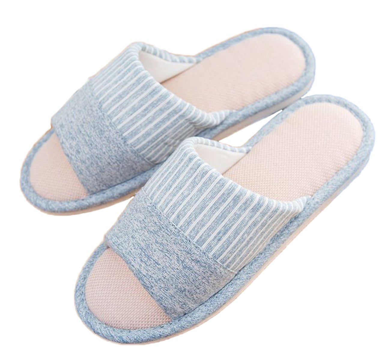 xsby Womens Open Toe Cotton Slippers, Comfortable Slippers with Arch Support Bedroom Shoes Blue-C 36-37