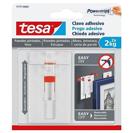 TESA TE77777-00001-00 SMS Clavo Adhesivo Ajustable hasta 2Kg para Pared Pintada, Standard, Set de 2 Piezas