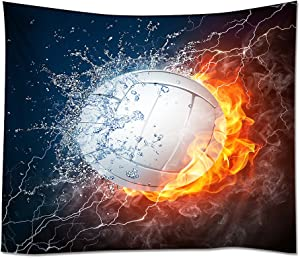 "HommomH Wall Art Home Decor Tapestry 60"" x 80"" Wall Hanging Flame Fire Volleyball"