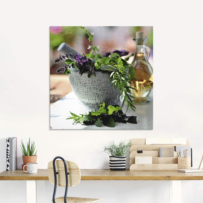 Artland Real de Cristal de Pared de Deco Glass Emmi Sanos Hierbas Mix en  mortero Bodegón Arrangements Alimentos fotografía Verde d18hm, Verde, 18x18