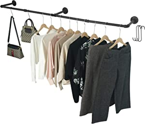 Crehomfy Industrial Pipe Clothes Rack with 3 S-shaped Hooks, 72''L Wall Mounted Garment Rack, Heavy Duty Iron Garment Bar, Clothes Hanging Rod Bar for Laundry Room, Max Load 135Lb Black (3 Base)