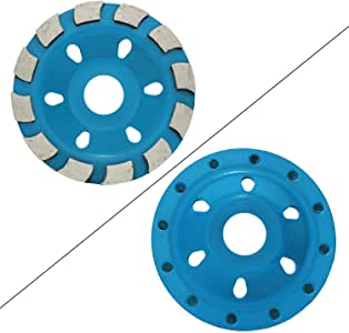 """OCR 4"""" Concrete Turbo Diamond Grinding Cup Wheel Three Row Turbo Cup Disc Grinder for Angle Grinder 12 Segs Heavy Duty (Blue 12segs A)"""