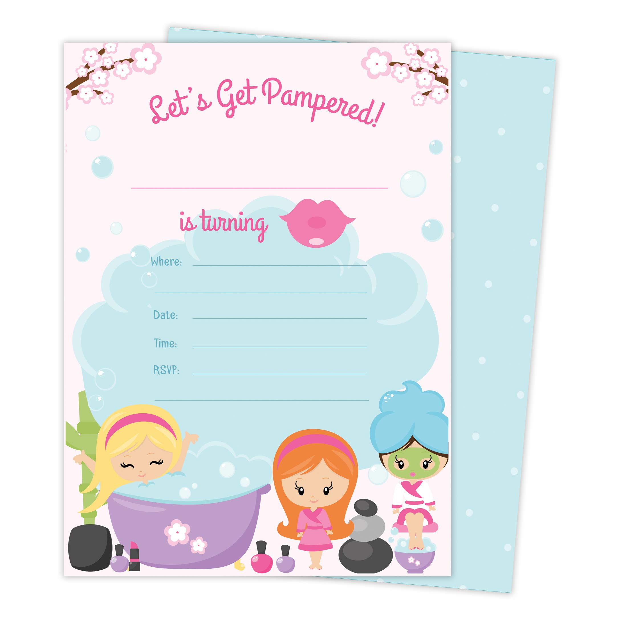 Spa Day 1 Happy Birthday Invitations Invite Cards (25 Count) With Envelopes & Seal Stickers Vinyl Girls Kids Party