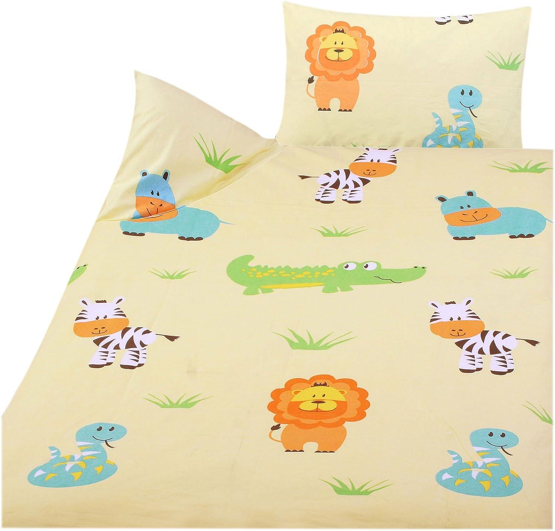 100/% coton 100 x 135 cm 1 drap-housse 70 x 140 cm 3 pi/èces Parure de lit pour enfant 40 x 60 cm