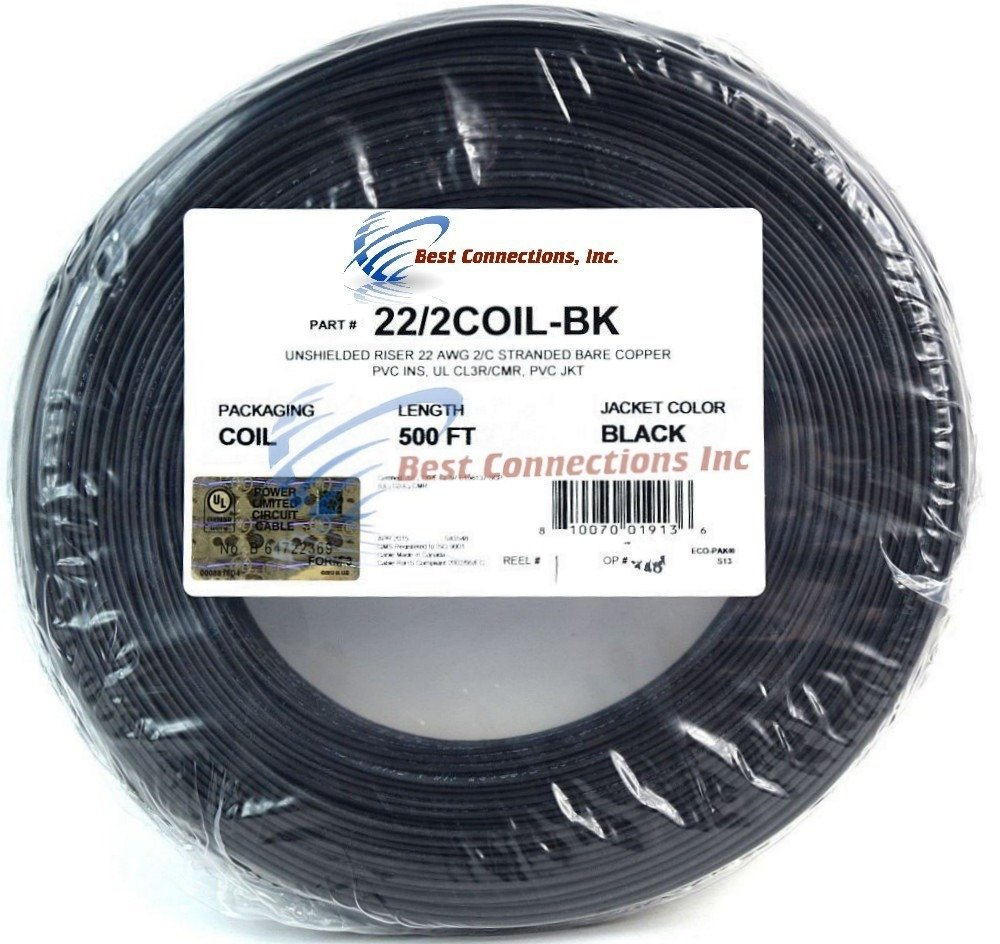 Alarm Wire Black 22 Gauge Copper Stranded 2 Conductor 500\' Coil Pack ...