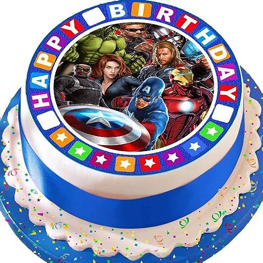 Cannellio Cakes troquelada Comestible decoración para Tarta para glaseado – 7,5 Pulgada Redonda de los Vengadores con Feliz cumpleaños Frontera